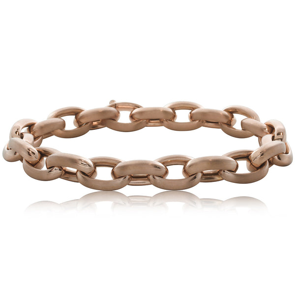 18ct Rose Gold Oval Link Bracelet - Walker & Hall