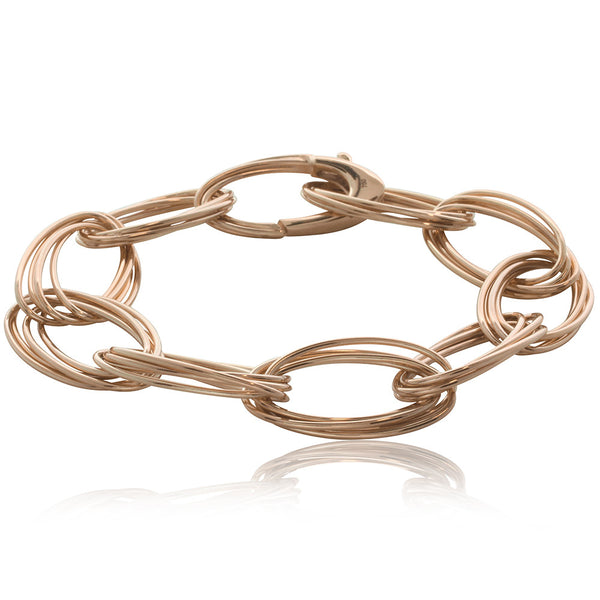 18ct Rose Gold Oval Quattro Bracelet - Walker & Hall