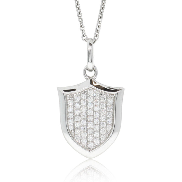 18ct White Gold .25ct Diamond Shield Pendant - Walker & Hall