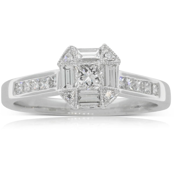 18ct White Gold .69ct Diamond Cluster Ring - Walker & Hall
