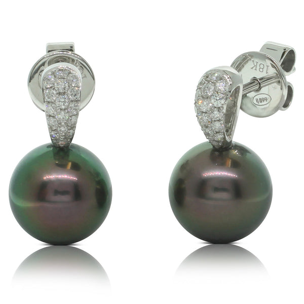 18ct White Gold Black Pearl And Diamond Drop Earrings - Walker & Hall