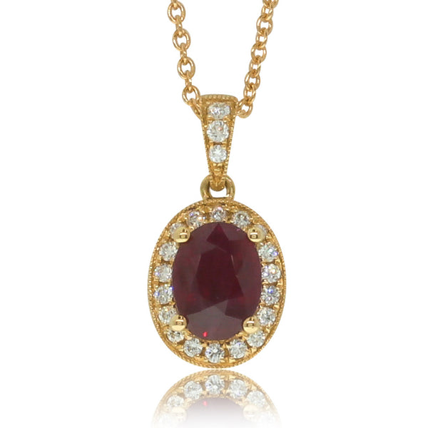 18ct Yellow Gold Ruby And Diamond Halo Pendant - Walker & Hall