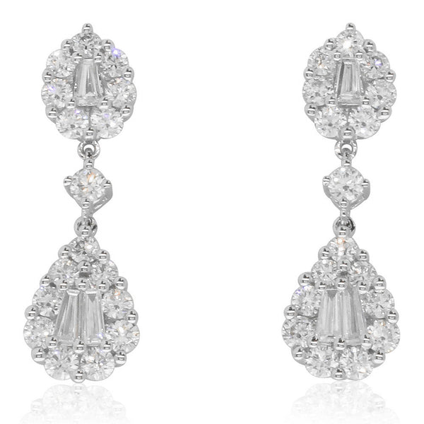 18ct White Gold 1.39ct Diamond Drop Earrings - Walker & Hall