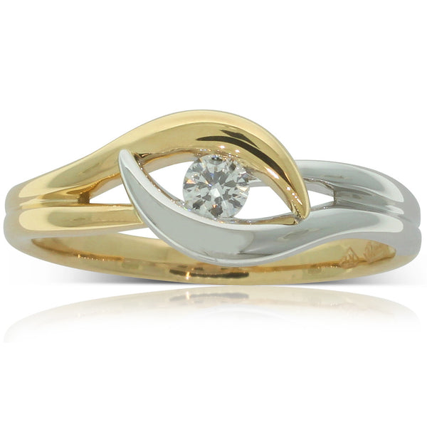18ct Yellow Gold & 18ct White Gold Diamond Solitaire Ring - Walker & Hall