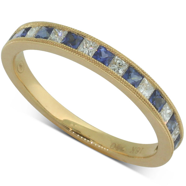 18ct Yellow Gold Sapphire And Diamond Band - Walker & Hall