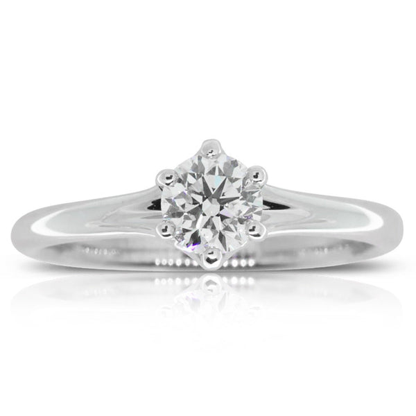 18ct White Gold .51ct Diamond Solitaire Ring - Walker & Hall