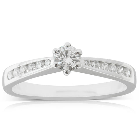18ct White Gold .23ct Diamond Avalon Ring - Walker & Hall