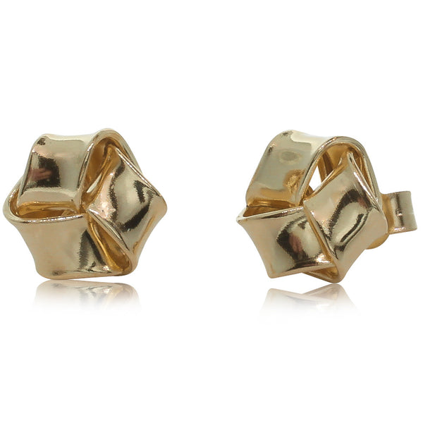 9ct Yellow Gold Flat Knot Studs - Walker & Hall
