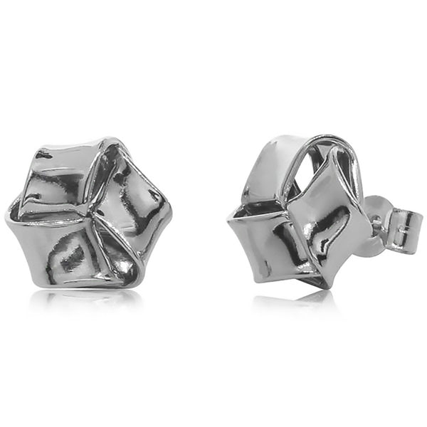 9ct White Gold Flat Knot Studs - Walker & Hall