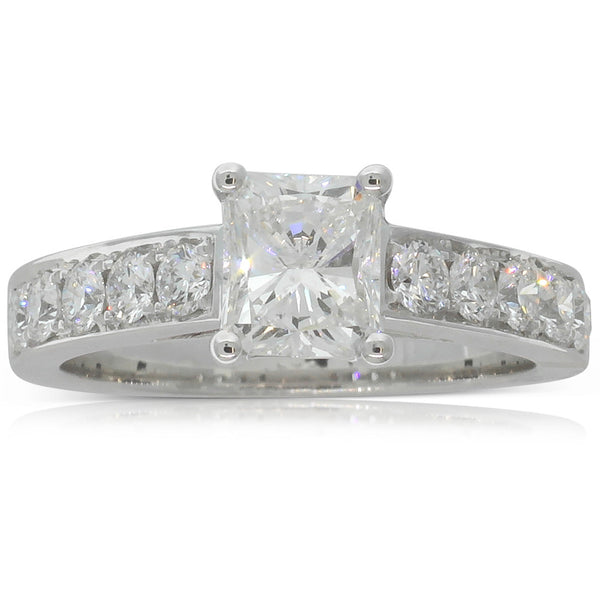 18ct White Gold 1.08ct Radiant Cut Diamond Ring - Walker & Hall