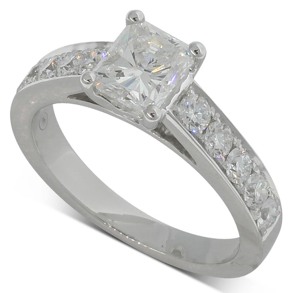 18ct White Gold  Radiant Cut Diamond Ring - Walker & Hall
