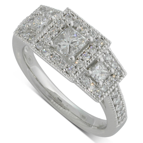 Platinum 1.25ct Diamond Trilogy Halo Ring - Walker & Hall