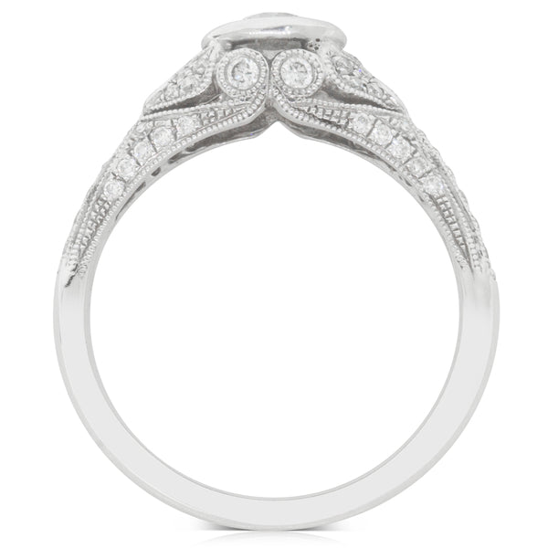 18ct White Gold  .49ct Rub Over Diamond Ring - Walker & Hall