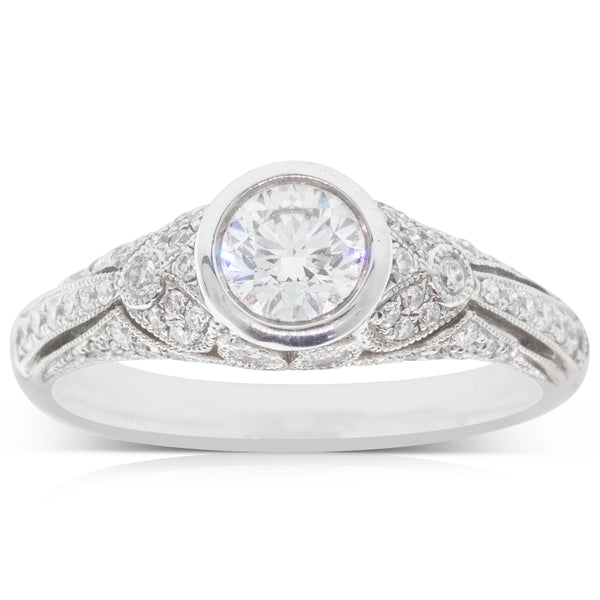 18ct White Gold Rub Over Diamond Ring - Walker & Hall