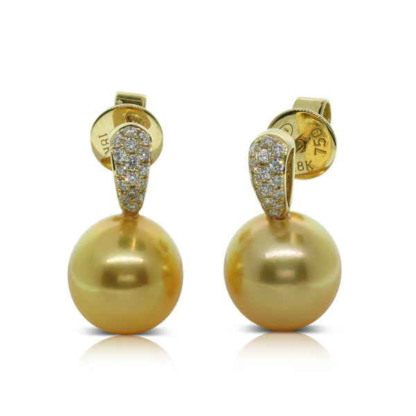 18ct Yellow Gold Cultured Golden Pearl & Diamond Earrings