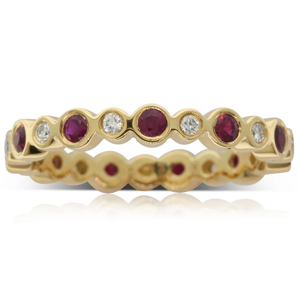 18ct White Gold Ruby & Diamond Eternity Band - Walker & Hall