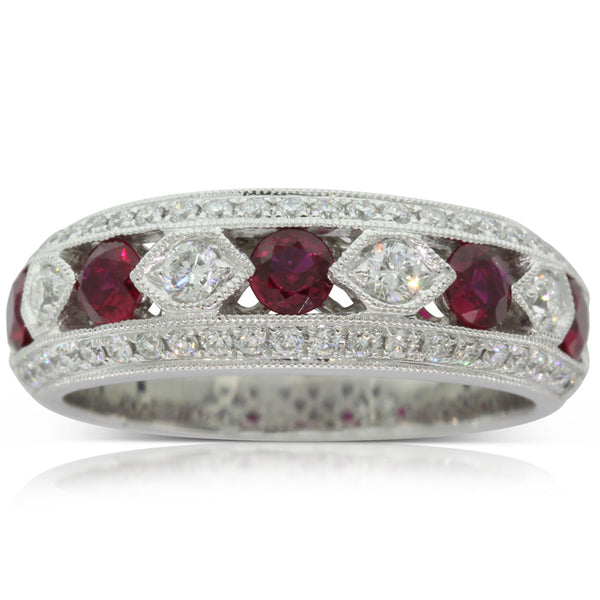 18ct White Gold Ruby And Diamond Art Deco Ring - Walker & Hall