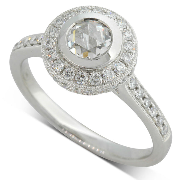 18ct White Gold .45ct Rose Cut Diamond Halo Ring - Walker & Hall