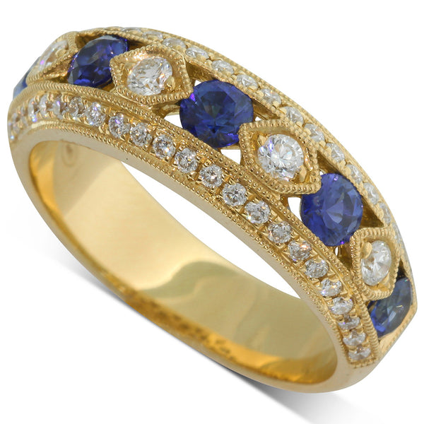 18ct Yellow Gold Sapphire & Diamond Dress Ring - Walker & Hall