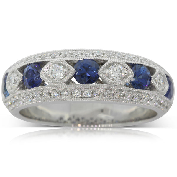 18ct White Gold Sapphire And Diamond Art Deco Ring - Walker & Hall