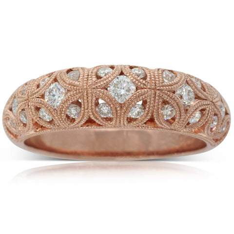 18ct Rose Gold .52ct Diamond Filigree Ring - Walker & Hall