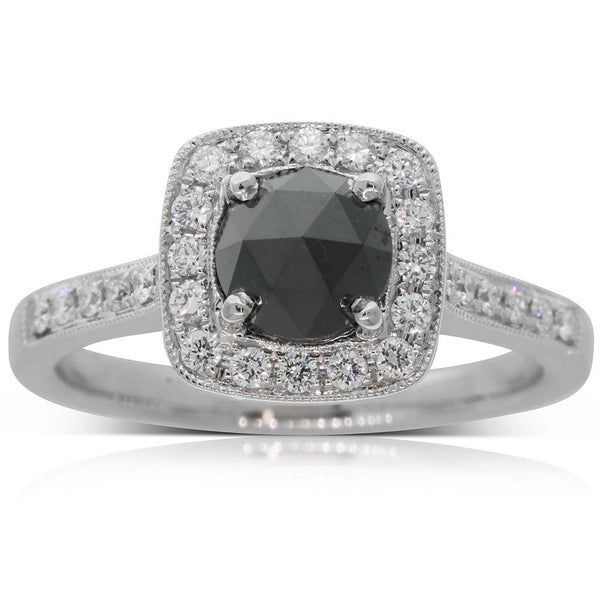 18ct White Gold Black & White Diamond Halo Ring - Walker & Hall