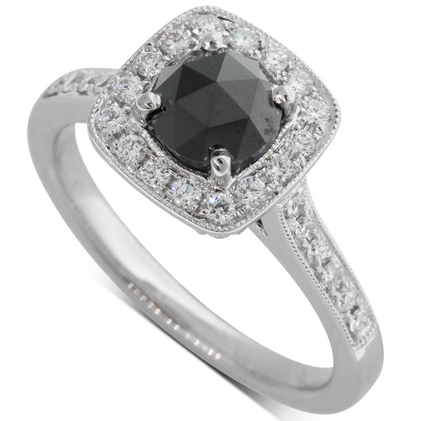 18ct White Gold .93ct Black & White Diamond Halo Ring - Walker & Hall