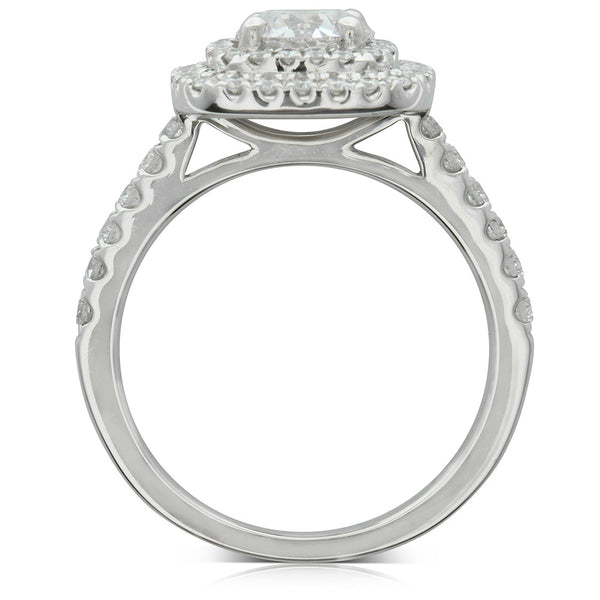 18ct White Gold Pink Diamond Halo Ring - Walker & Hall