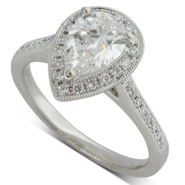 Platinum 1.20ct Pear Cut Diamond Halo Ring - Walker & Hall