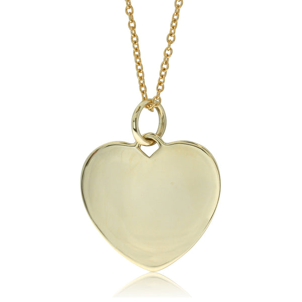 9ct Yellow Gold Heart Pendant And Chain - Walker & Hall