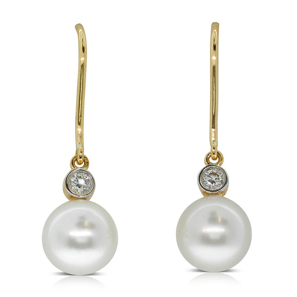 18ct Yellow Gold Pearl & Diamond Drop Earrings - Walker & Hall