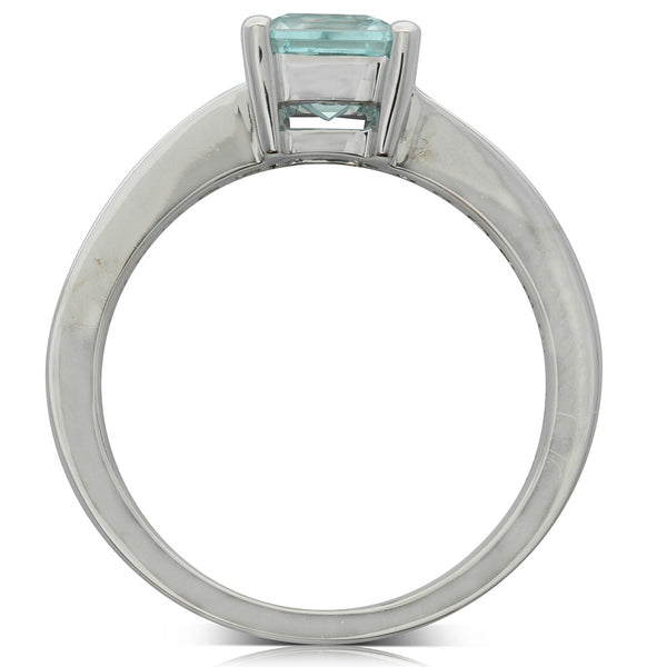 18ct White Gold 1.04ct Aquamarine & Diamond Ring