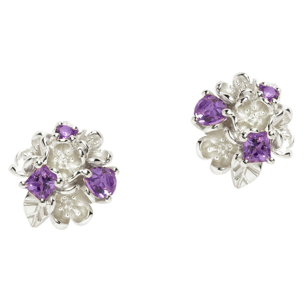 Karen Walker Rock Garden Flower Ball Studs Amethyst - Sterling Silver