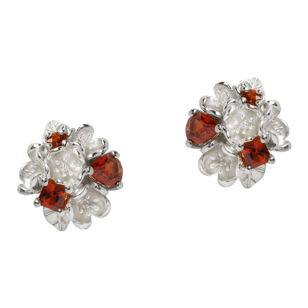 Karen Walker Rock Garden Flower Ball Studs Garnet - Sterling Silver
