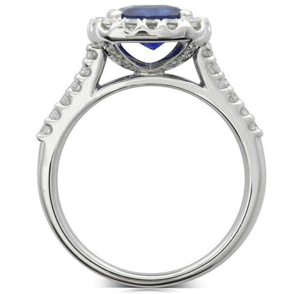 18ct White Gold 2.06ct Sapphire & Diamond Ring - Walker & Hall