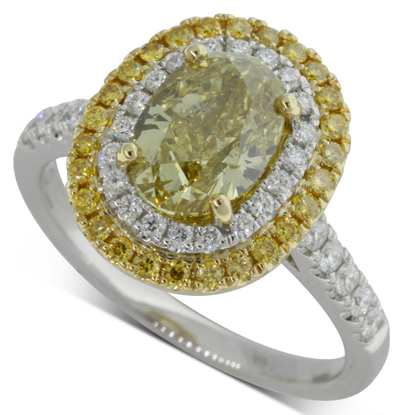 18ct White & 18ct Yellow Gold 2.03ct Yellow Diamond Ring - Walker & Hall