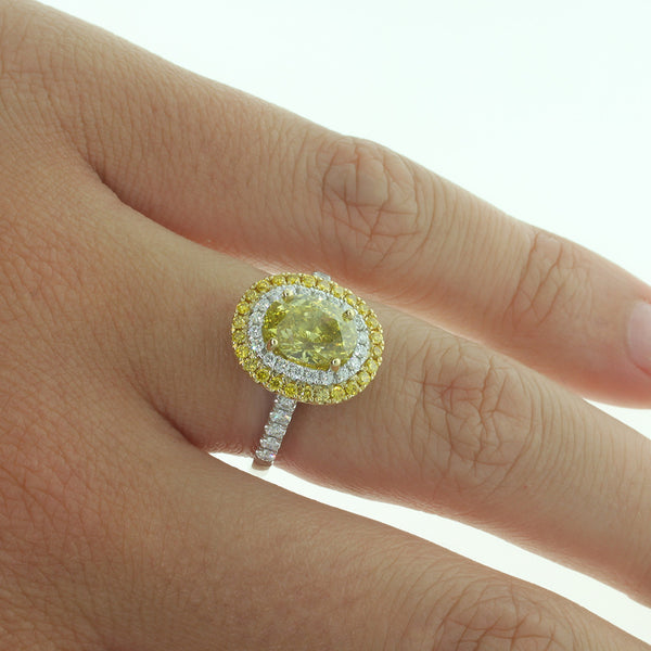 18ct White & 18ct Yellow Gold Yellow Diamond Ring - Walker & Hall