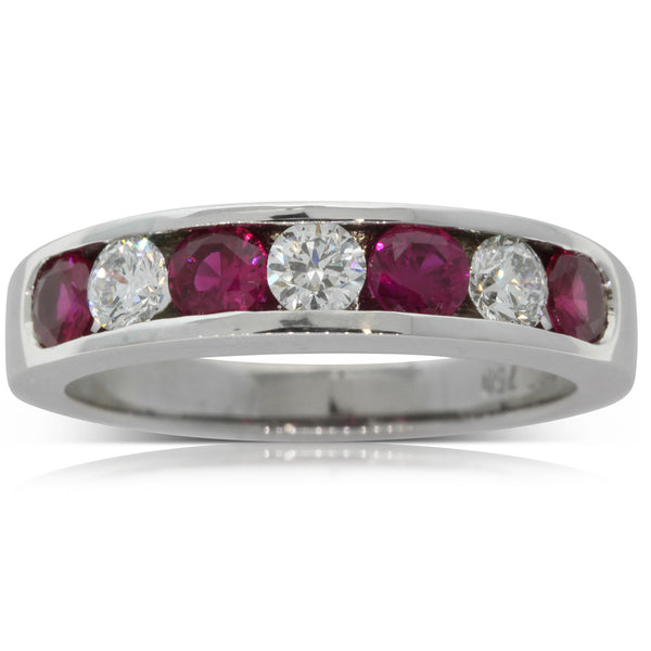18ct White Gold Diamond & Ruby Band - Walker & Hall