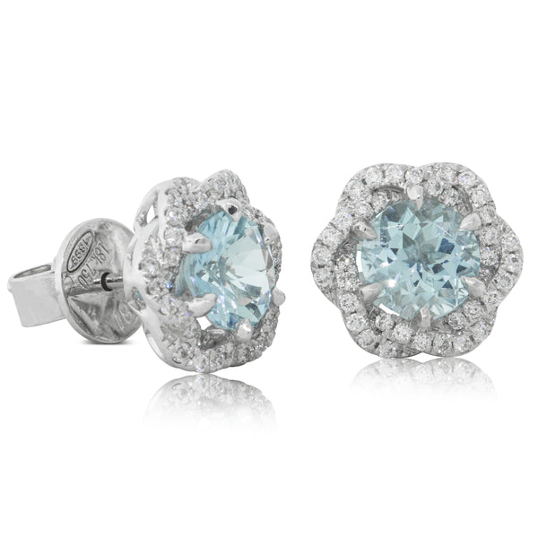 18ct White Gold 1.50ct Aquamarine & Diamond Halo Earrings - Walker & Hall