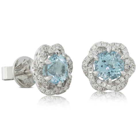 18ct White Gold 1.68ct Aquamarine & Diamond Halo Earrings - Walker & Hall