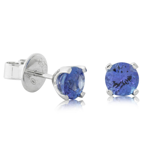 18ct White Gold 1.61ct Tanzanite Blossom Earrings - Walker & Hall