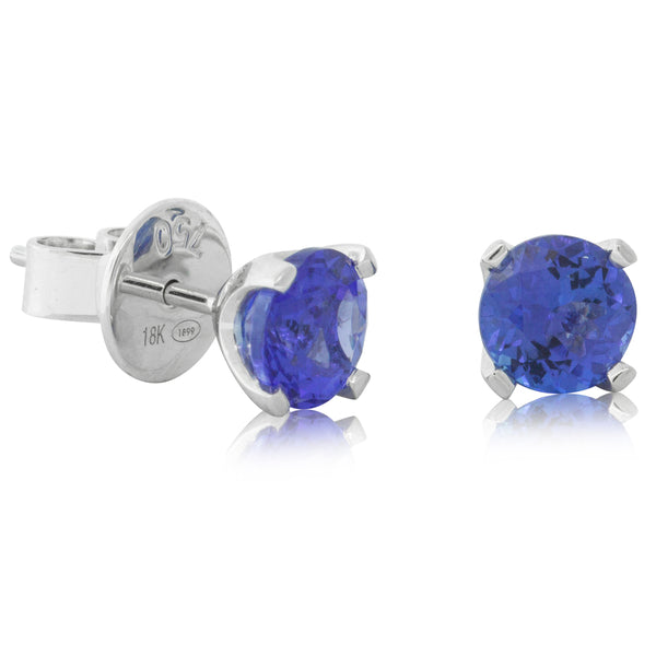 18ct White Gold 1.84ct Tanzanite Blossom Earrings - Walker & Hall