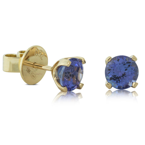18ct Yellow Gold 1.81ct Tanzanite Blossom Earrings - Walker & Hall