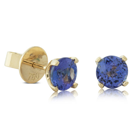 18ct Yellow Gold 2.05ct Tanzanite Blossom Earrings - Walker & Hall