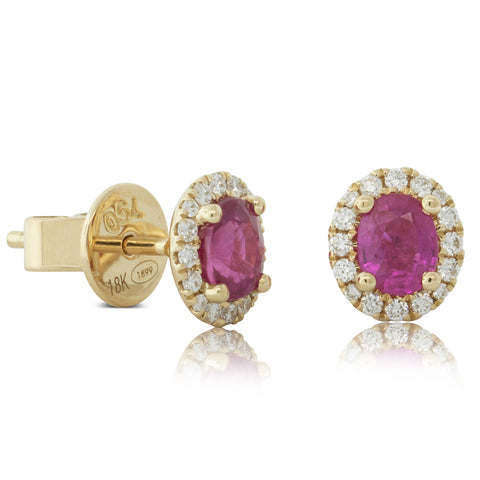 18ct Yellow Gold .89ct Ruby & Diamond Halo Earrings - Walker & Hall