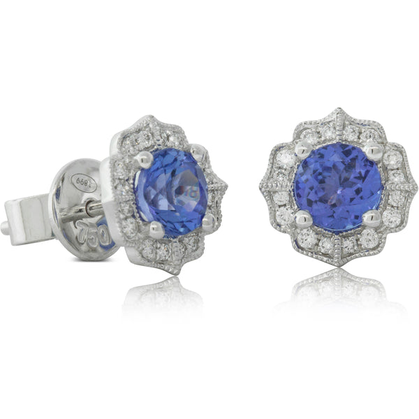 18ct White Gold 1.20ct Tanzanite & Diamond Paramount Earrings - Walker & Hall