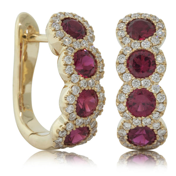18ct Yellow Gold 1.21ct Ruby & Diamond Earrings - Walker & Hall