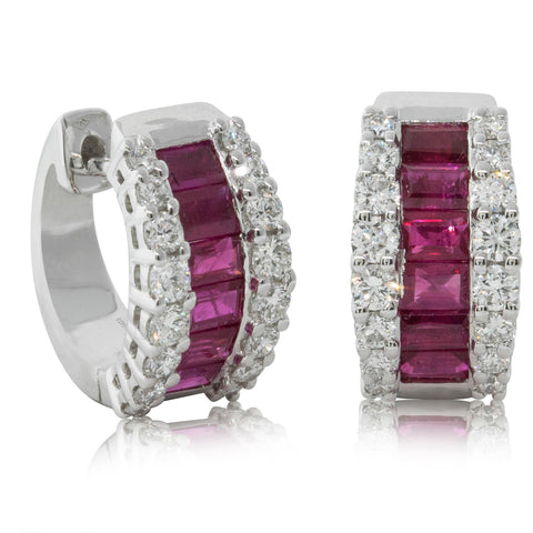 18ct White Gold 1.20ct Ruby & Diamond Earrings - Walker & Hall
