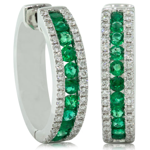 18ct White Gold .79ct Emerald & Diamond Earrings - Walker & Hall