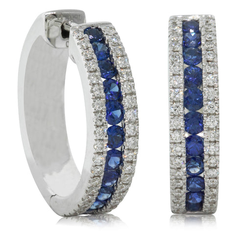 18ct White Gold .91ct Sapphire & Diamond Earrings - Walker & Hall